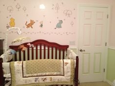 Classic Winnie the Pooh Nursery Set Neutral made for Girl with pink and green wall