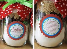 Cookies in a Jar + {Free Printable} guest favors change label to say Queen of Hearts Cookie Mix