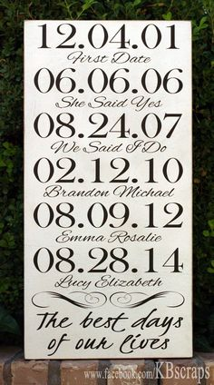 What are your best days? Engagement, wedding, birthdays....commemorate them with this personalized sign. 12 x 24  finish color: antiqued white  vinyl