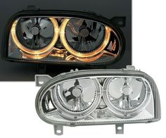 CRYSTAL ANGEL EYE HEADLIGHTS HEADLAMPS FOR VW GOLF MK3 MK 3  | Headlight Assemblies | External Lights & Indicators - Zeppy.io