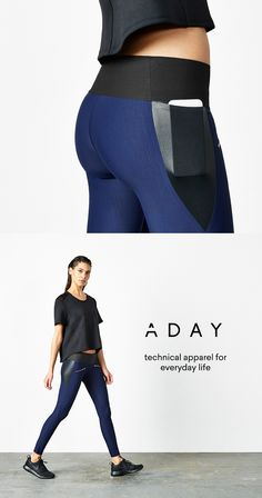 Throw & Roll Leggings by ADAY w/ rose gold zips, sculpting fabric and a side pocket for your phone.  #leggings