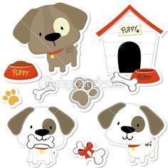 Colección vector perrito lindo — Vector de stock #26228347