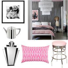 Black U0026 White U0026 Pink Bedroom   Gold Sunburst Mirror, Pillow Stripes,  Windsor Smith And Designeru0027s Guild Fabrics | Pinterest | Gold Sunburst  Mirror, Pink ...