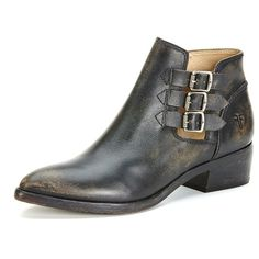 Women Leather Ankle Boots Low Heel Pointed Toe Black Pull On Line Warm Shoes RR6