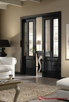 Interior pocket doors really like the frosted glass on these pocket doors to separate office from great room interior pocket doors with glass inserts Doors Interior, House Design, House Interior, House, Home, Interior, Black Interior Doors, Home Decor, Pocket Doors