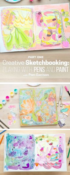 """Learn how to develop a unique, intuitive artistic style with Pam Garrison. In this four-part journey, Pam shares her approach to using """"action and reaction"""" to create artwork in a sketchbook. Learn how to draw and doodle using your dominant and non-dominant hands and create backgrounds with collage and abstract brush strokes. You will continue to build on your backgrounds throughout the course, allowing each action to be inspired by your last. Affiliate Link with CreativeBug"""