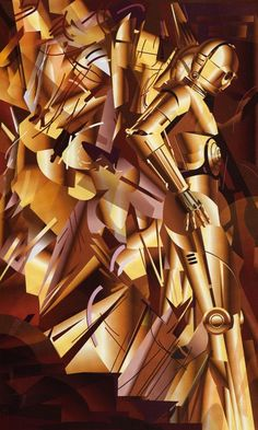 Star Wars Art, C3PO, Cubist Style, Declining Stairs./ >>>   Marcel Duchamp:  http://en.wikipedia.org/wiki/Nude_Descending_a_Staircase,_No._2