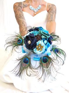 Peacock Brooch Bouquet , Something Blue bouquet , Fabric bouquet , Alternative Unconventional Wedding Bouquet , By Talila Design 0400