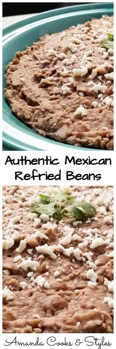 Authentic Mexican Refried Beans These beans are the ones you hope to get on your plate when eating real Mexican food. They go great as a side dish or in a burrito, and more! Authentic Mexican Recipes, Mexican Food Recipes, Mexican Desserts, Authentic Food, Italian Recipes, Real Mexican Food, Mexican Cooking, Mexican Food For Party, Bean Recipes