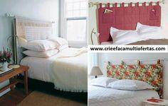 cabeceira de cama feita com material de cortina
