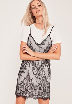 86e898c979232 Missguided - Lace 2 in 1 Dress Black 21st Dresses