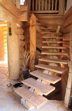 35 Marvelous Rustic Staircase Design Ideas You Should To See - Just Know Once Rustic Staircase, Wooden Staircases, Wooden Stairs, Staircase Design, Stairways, Spiral Staircases, Stair Design, Loft Stairs, House Stairs