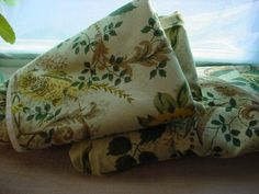 Vtg Fabric Cloth Birds and Floral Print 36 inches by 3 yards Greens w Yellow Tan
