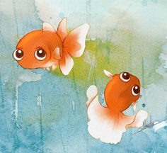 Cute fish - want something like these guys on the stones but more koi like rather than goldfish-y Watercolor Fish, Watercolor Animals, Watercolor Background, Little Fish, Fish Art, Cute Illustration, Cute Drawings, Cute Art, Painting & Drawing