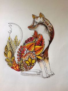 Fox in autumnal colored pencils. --Johanna Basford