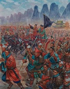 Sun Tzu leading the army of the Kingdom of Wu during the Spring and Autumn Period, Ancient China. (The Art of War)- by Giuseppe Rava Historical Art, Historical Pictures, Military Art, Military History, Military Drawings, Dynasty Warriors, Asian History, Ancient China, Ancient Civilizations