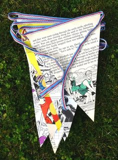 Handmade Re-cycled Annual / Comic / Map / Music Sheet Bunting