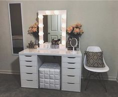 Beautiful white vanity with flowers