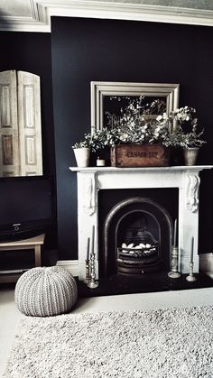 Taking our Living Room to the Dark Side with Farrow & Ball Railings transforming this from light to dark walls making a feature of the marble fireplace and combining it with vintage shutters and rustic box to create a modern rustic feel Farrow And Ball Living Room, Dark Walls Living Room, Feature Wall Living Room, Living Room Paint, Home Living Room, Living Room Designs, Fireplace Feature Wall, Dark Rooms, Feature Walls