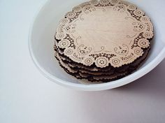 doily coasters - wood coasters - home & living