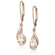 Earrings,14k Rose Gold Pear Shaped Morganite with Diamond Accent Drop Earrings…