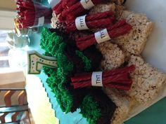 Minecraft party ideas! I made these TNT with twizzlers