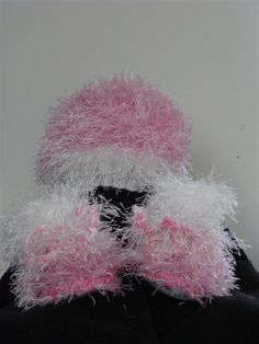 Knitted Fun Fur Hat and Boot set Size New Born