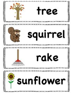 16 fall vocabulary words for the pocket chart or word wall. :)