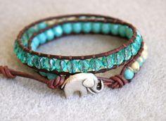 $32 - Beaded Leather Elephant Bracelet, Etsy