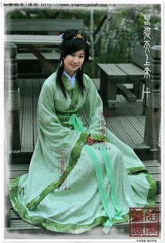 Fishtail Song Green Flower Hanfu