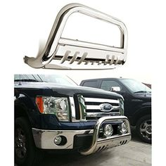 Bull Bar Skid Plate Front Push Bumper Grille Guard Stainless Steel Chrome for 2008 2009 2010 Ford F250 / F350 / F450 / F550 Super Duty. For product info go to:  https://www.caraccessoriesonlinemarket.com/bull-bar-skid-plate-front-push-bumper-grille-guard-stainless-steel-chrome-for-2008-2009-2010-ford-f250-f350-f450-f550-super-duty/