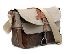Beige Messenger Bag, Canvas Leather Messenger Bag, Upcycled Messenger, Recycled Belgian Military Post Canvas Bag / Upcycled in Germany-2197