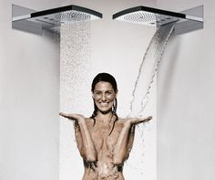 Raindance Rainfall Shower Head by Hansgrohe: Waterfall, hydromassage via a shower of aerated raindrops, or both? via indesignlive #Shower_Head #Hansgrohe