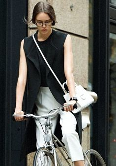 Silver bike style. See more stylish women on bikes at melisinestudio.com and @melisinestudio on instagram.