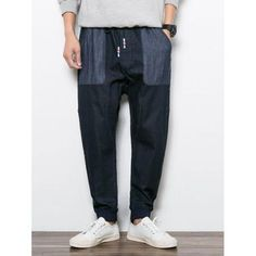 Drawstring Patch Pocket Jogger Jeans