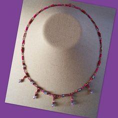 Matte Lilac Hot Pink Drop Necklace $10