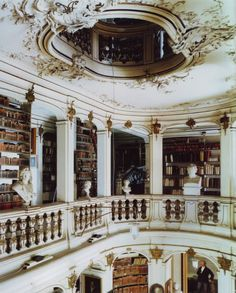 I like the openess of thelibrary and the carving of the stone railings.  I think its marble.  I also like the oval shape of  the ceiling.