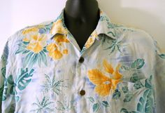 Tommy Bahama Relax Hawaiian Shirt Mens Medium Light Blue Leaves Yellow Flowers   #TommyBahama #Hawaiian