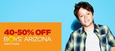 jcpenney coupons - Take 60% off boys' Arizona cargo shorts and many other jeans, shirts + tops. shorts, swimwear - bottoms, pants, belts/suspenders, swimwear - tops, outerwear-coats, sweaters, headwear, cold weather accessories. The fits he needs at prices you can afford. Save on select styles