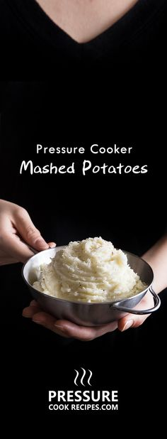 10 minutes prep to make this super easy pressure cooker mashed potatoes. Fluffy, creamy butter garlic smashed potatoes sprinkled with cheese and pepper.