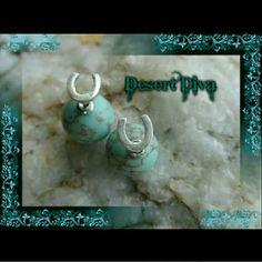 Horseshoe Double Stud Earrings Beautiful faux turquoise Jewelry Earrings