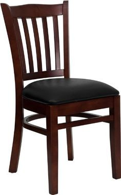 Flash Furniture XU-DGW0008VRT-MAH-BLKV-GG Hercules Series Mahogany Finished Vertical Slat Back Wooden Restaurant Chair with Black Vinyl Seat by Flash Furniture. $81.52. Vertical slat back. Black vinyl upholstered seat. Heavy duty restaurant chair, 17-1/2-inch width by 20-3/4-inch depth by 34-1/2-inch height. 2-1/2-inch Thick 1.4 Density Foam Padded Seat. Solid european beech hardwood construction. Provide your customers with the ultimate dining experience by offerin...
