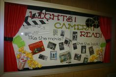 Lights! Camera! Read! Books to Movies Library Bulletin Board at Hunter Jr. High