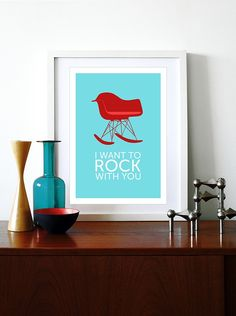 Eames poster print  chair Mid century modern Herman Miller vintage retro office home - I Want To Rock With You Red A3