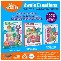 AWALS brings Colourful #Rattle Sets in 10pcs, 8pcs & 4pcs #giftbox packing. Gift your #littleones all time favourite #toy made from #nontoxic plastic material, #BIS #EN71 certified. Bright #colours, #melodious & pleasant sound stimulates #baby's eye-hand coordination, colour & #shape recognition, motor skills & physical development. Light weight & smooth edges help improve your #toddlers gripping power. #madeinindia #babyshower #indianmanufacturers #toymanufacturers #bulkorders…