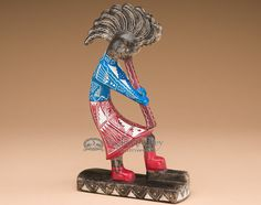 "Large Horse Hair Painted Pottery Figure 10.25""-Kokopelli (p190) - Mission Del Rey Southwest"