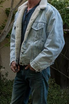 a17e136bc17 Vintage Levis Distressed Sherpa Fleece Lined Distressed Jean Jacket, mid  80's denim jacket, size 46 (large), extreme grunge fades, USA