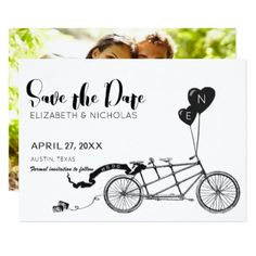 We Do Tandem Bicycle Photo Save The Date Card - wedding invitations diy cyo special idea personalize card