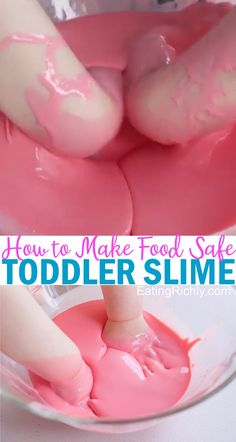 Toddler Slime Recipe Need a toddler friendly slime recipe? This easy goop recipe is just corn starch and water, totally food safe. It's a satisfying and fun sensory experience for kids of all ages! Goo Recipe, Oobleck Recipe, Easy Slime Recipe, Play Doh Recipe, Slime Videos For Kids, Slime For Kids, Homemade Goop, Homemade Baby Foods, Edible Slime