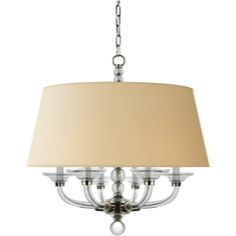 """Visual Comfort E.F. Chapman Geometric Stacked Ball Hanging Shade in Polished Nickel with Natural Paper Shade CHC1526PN-NP   Height: 28 1/2"""", Width: 30"""""""